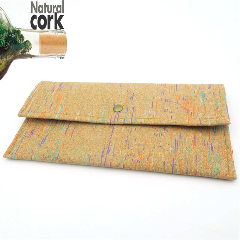 Natural cork handmade colorful long holder phone and money wallet vegan cork women wallet Wooden vintage BAG-139 from Portugal