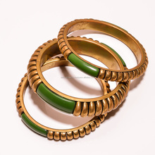 Vintage Antique Retro Costume Indian Fancy Women Fashion Jewelry 3Pcs Set Brass Bangles Bracelets Kada Available in Many Colors