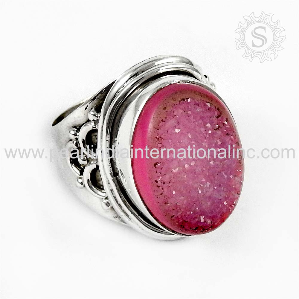 World surpassing 925 Sterling Silver Jewelry Pink Druzy Ring Wholesaler Silver Jewelry Indian Silver Jewellery