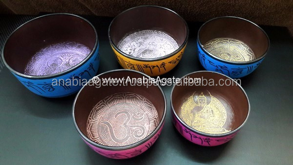 Tibetan Singing Bowls With Five Embossed Buddha 4.5 inch : From Anabia Agate Bolws