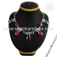 Great Combination Of Ruby Emerald Sapphire Necklace 925 Silver Jewelry Wholesaler Indian Silver Jewelry