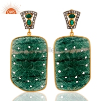 Aventurine And Green Onyx Gemstone Earring 925 Silver Gold Plated Hand Carved Earrings Cz Gemstone Earring Jewelry Supplier
