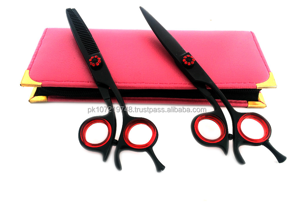 "Professional Barber Hairdressing Scissors & Thinning Shears 6.0"" Set + Pink Case Japanese Steel Packed in USA"