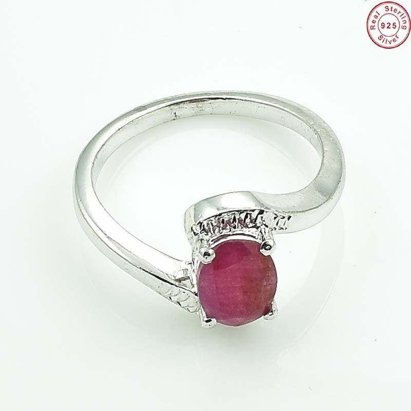 Solid 925 Sterling Silver 100% Natural Ruby Handmade Ring Jewellery US S 8 MH135
