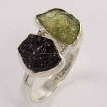 Rough stone silver ring wholesale Natural gemstone jewelry Value 925 silver ring