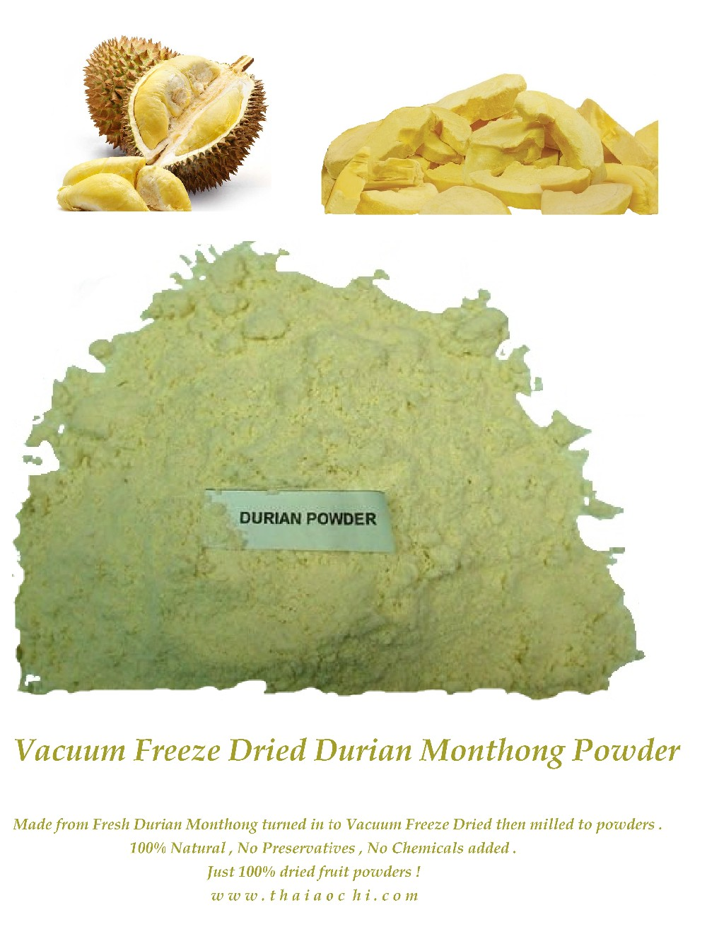 Thailand's Freeze Dried Durian Powder HACCP , HALAL , GMP , ISO 22000, KOSHER