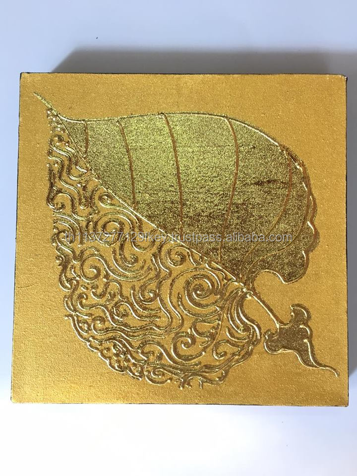 Wall Art Pho Leaf in Religion Buddha Oil Painting Acrylic Gold low relief Paint On Canvas Picture And Pine wood Framed.No9