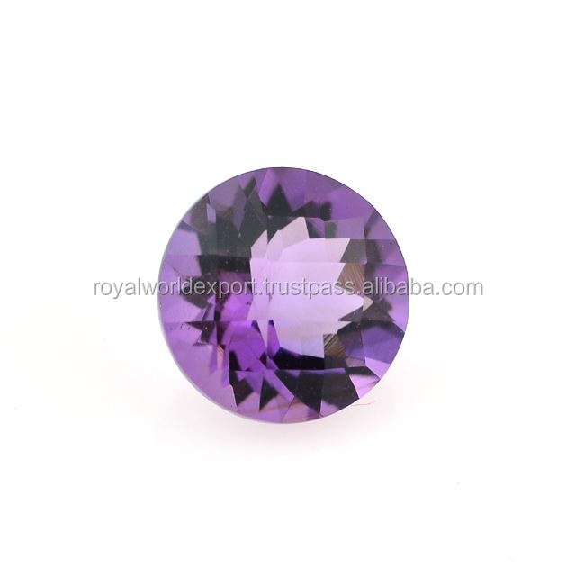 BRAZIL AMETHYST CHECKER CUT ROUND 11MM 4.15 Cts./LOOSE AMETHYST FACETED STONES