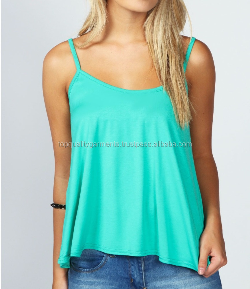 Green Women Girl Ladies Blouse Tank Top Tee Sleeveless Casual Wear Latest Fashion Cotton OEM ODM Custom Print Plain Trendy Flowy