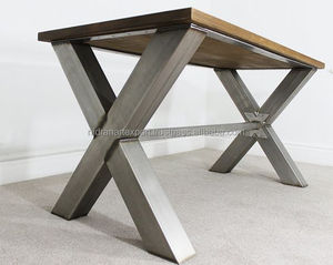 industrial & vintage iron metal folding dining table with solid wood top
