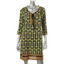 Vintage and famous party wear ,occasion wear long dress /FAMOUS BRAND NEW Women Yellow Printed 3/4 Sleeves Casual Dress .