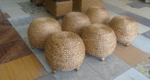 Cheapest water hyacinth stool, round rattan ottoman , water hyacinth furniture Vietnam