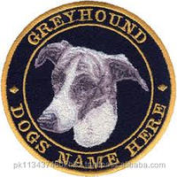 Dog picture embroidered badges