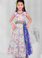 Indian supplier new design simple style girls dresses one piece frocks party wear design in surat - Frock blue stone work design