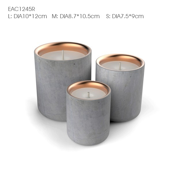 Natural stone marble concrete cement candle jars with copper metal lids
