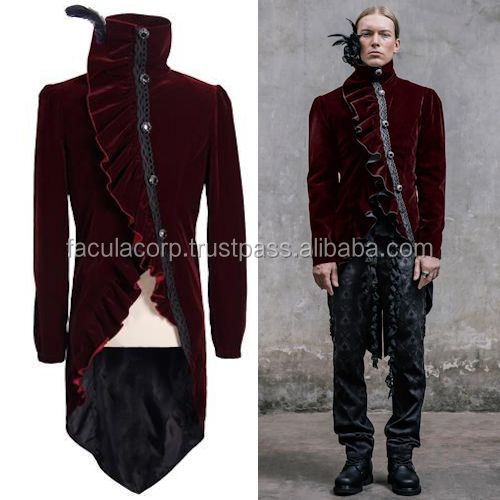 Victorian Gothic Velvet Victorian Gothic Dress Tail Jackets Trench Coats Men FC-2279
