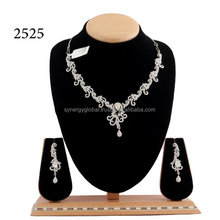 BRASS MADE AMERICAN DIAMOND DELICATE NECKLACE SET - CZ FANCY JEWELRY-Indian imitation jewelry