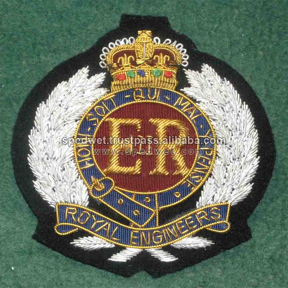 Hand embroidery custom cap badges | Embroidery cap badges | Bullion wire air force blazer badges