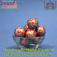 Handmade Floral Abstract hand painted - ECO FRIENDLY Paper Mache wooden custom beads - all types of beads custom made beads