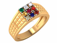 14k Yellow Solid Gold Certified Diamond Ruby Coral Pearl Emerald Cats-eye Sapphire Hessonite Navratan Unisex Ring