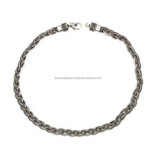 Indian Braided Design Oxidised Traditional Fashionable Silver Chain Comfortable For Everyday Wear Unisex