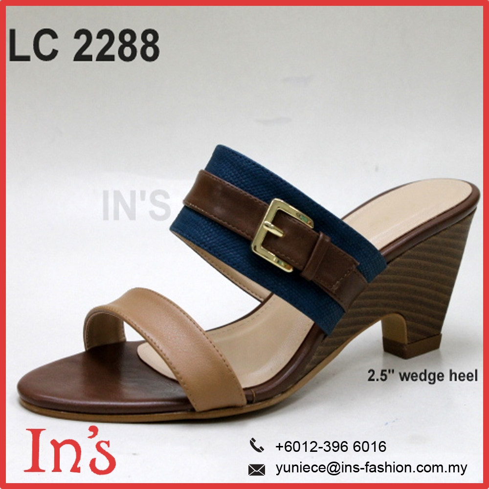 Lady Wedges Sandal Heels in Navy Blue from Malaysia