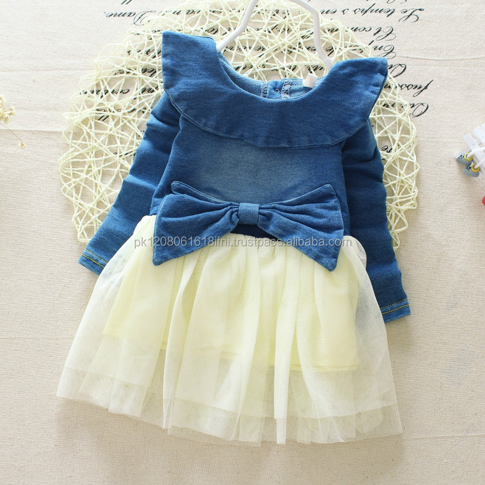 Kids jeans dress with net frill design custom build made fashion baby girls