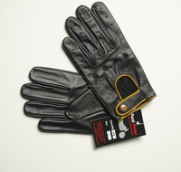 Classic mens black sheepskin driving leather gloves with zipper