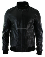 Mens Fitted Real Leather Black Varsity Bomber Jacket Classic Vintage Black FC-13147