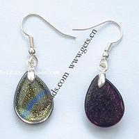 Dichroic Glass Drop Earring with Brass Teardrop platinum color plated mixed colors lead & cadmium free 18x13mm