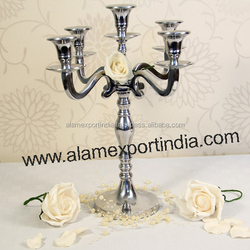 wedding Crystal candelabra / crystal Five Arm candelabra / wedding centerpieces / Metal Candelabra / aisle candelabra / entrance