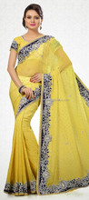 lemon yellow saree with blue border