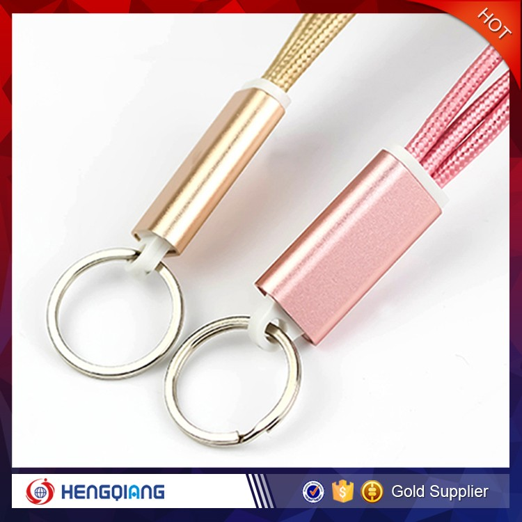 Customized logo 3 in 1 Mini keychain USB Data Cable for iphone for samsung with best quality