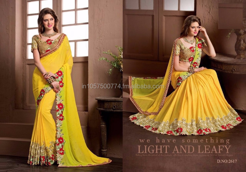 Yellow Embroidery Designer Saree in Surat