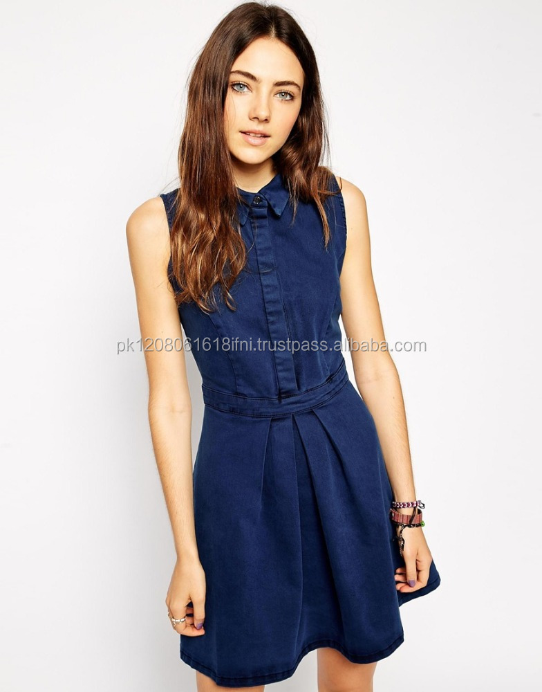 Dark blue denim dress for women wholeasale