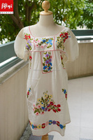 Mexican Embroidered Dress Flora Crocheted Peasant Cotton Tunic Bridesmaid Boho Beach Bohemian Dress 2015