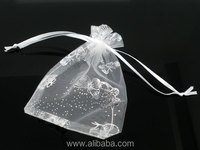 50 Butterfly Organza Wedding Gift Bags&Pouches W/Draw String 16x13cm