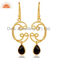 Online Gold Plated 925 Silver Handmade Earrings Wholesale Black Onyx Gemstone Stylish Girls Earring Manufacturer Fashion Jewelry