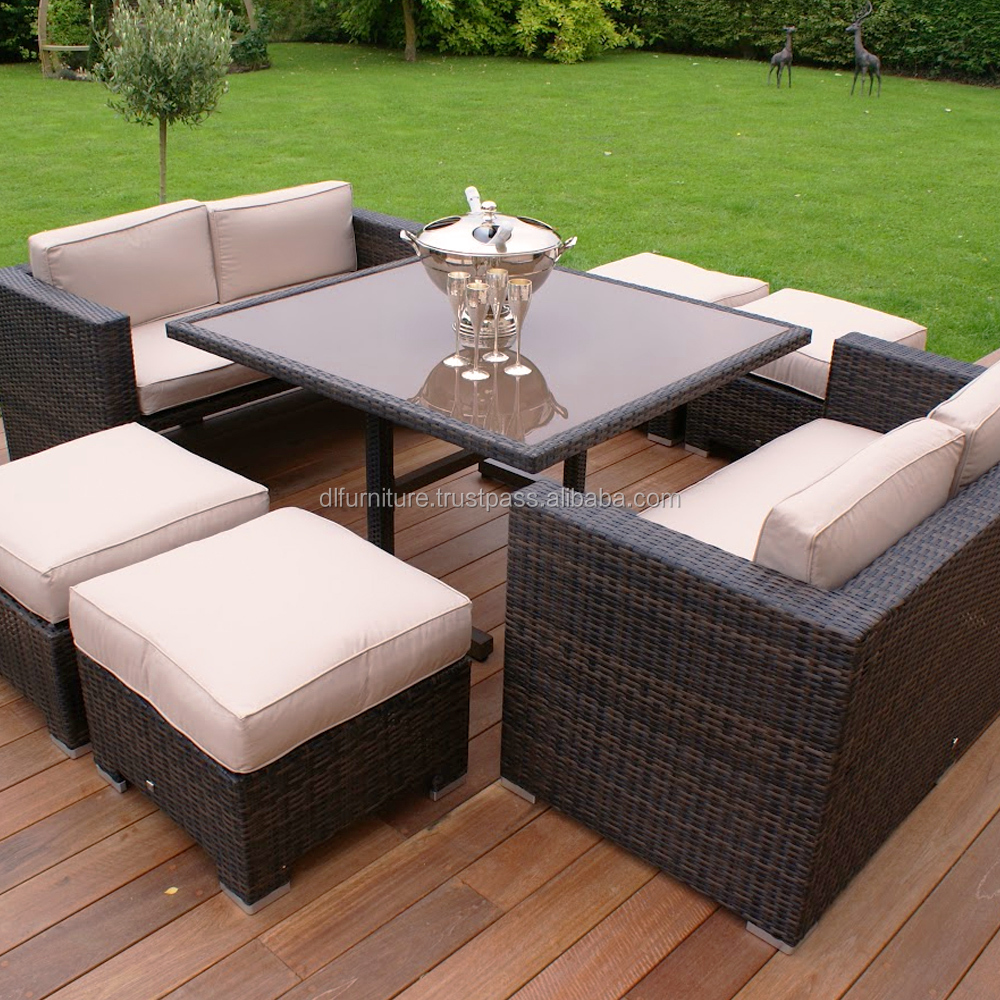 2016 new product with new design of poly rattan furniture Cube Dining set