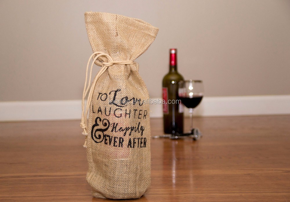 Factory sale burlap Xmas party favor bags for wine bottle goodie