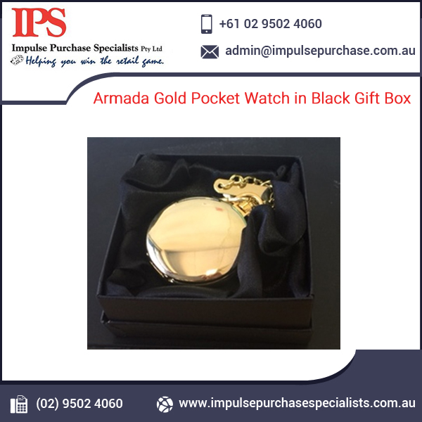 Widely Demaned Armada Gold Pocket Watch in Black Gift Box
