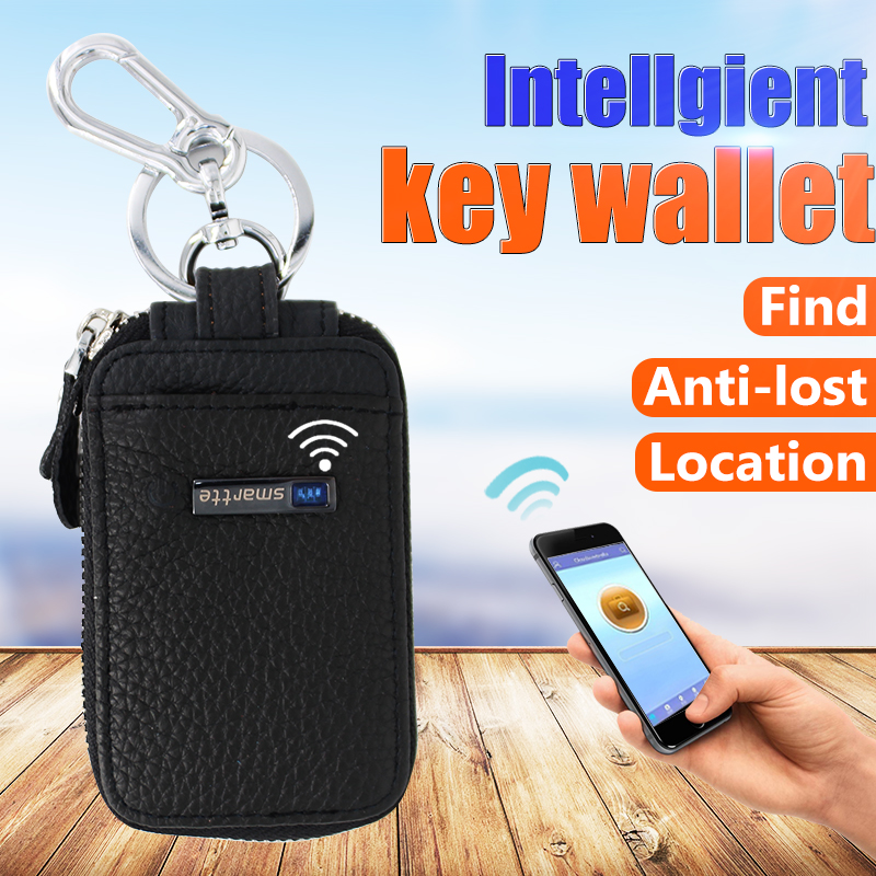 super hot sale mini coin and key leather purse for men Anti-lost smart wallet