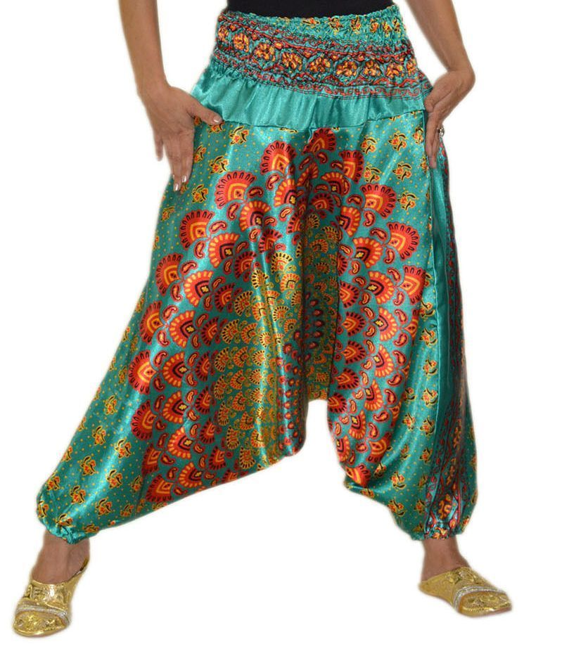 Multi Colour Traditional Green Loose Indian Harem Pant Ali Baba Baggy Aladdin Boho Gypsy Hippie Yoga Hip Hop Trousers Pants