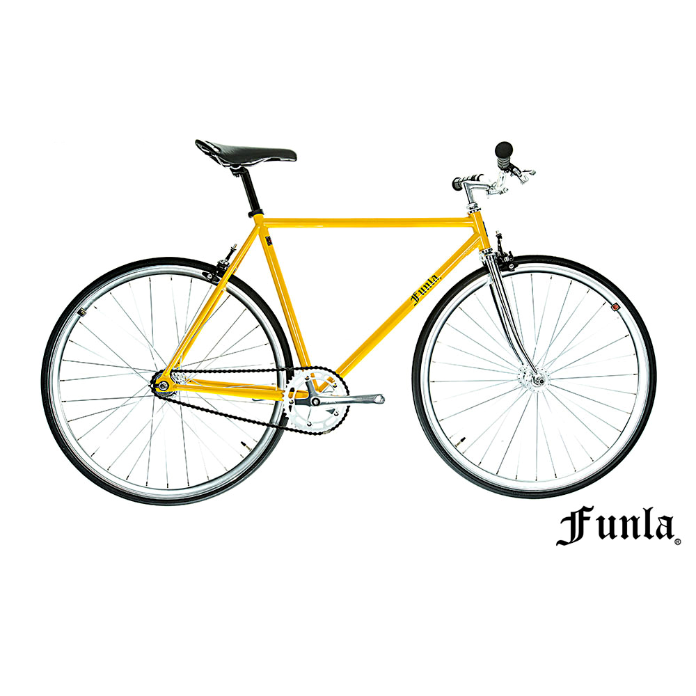 Funla Yellow Black 700C Fixed Gear complete bike