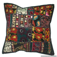 INDIAN VINTAGE GYPSY APPLIQUE EMBROIDERY HAND COTTON CUSHION COVER 3
