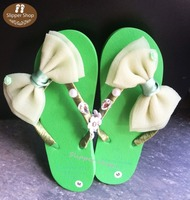 Green Ribbon Handmade Slippers 2015