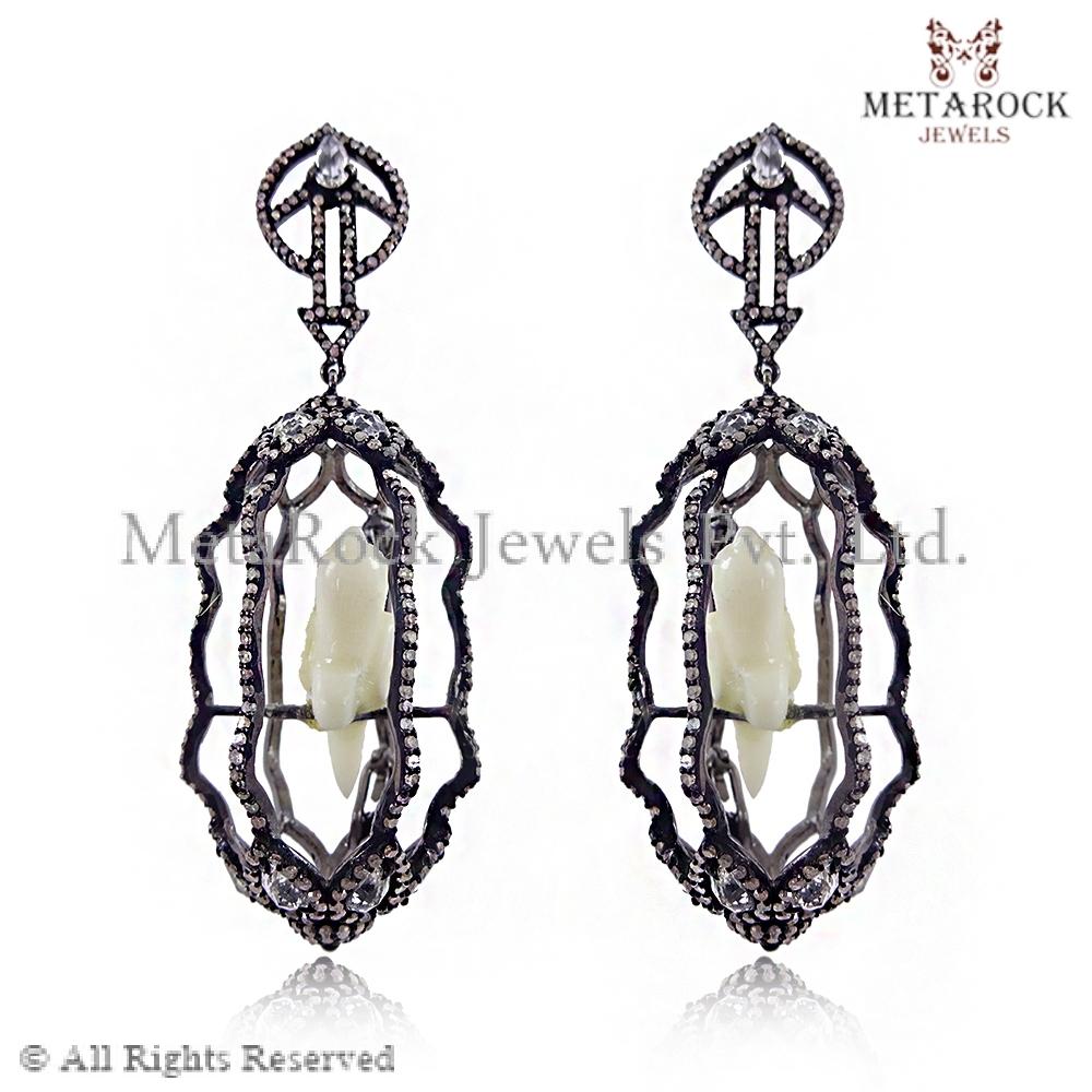New Designer Parrot Cage Pave Diamond Earrings, wholesale 925 ...