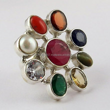 Royal Design Navratna Multi Colour 925 Sterling Silver Ring, Handmade Silver Jewelry, Wholesale Silver Jewelry