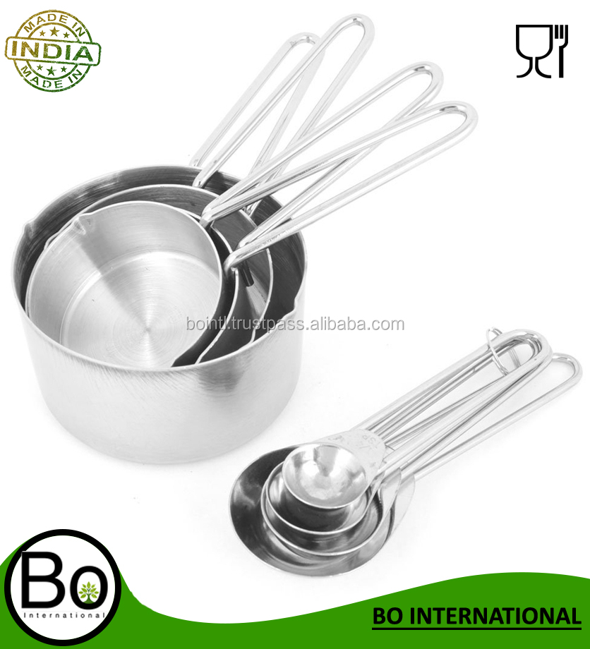 Stainless Steel Hot Kitchen Baking Cooking Measuring Spoon Cup 8 in 1 Set