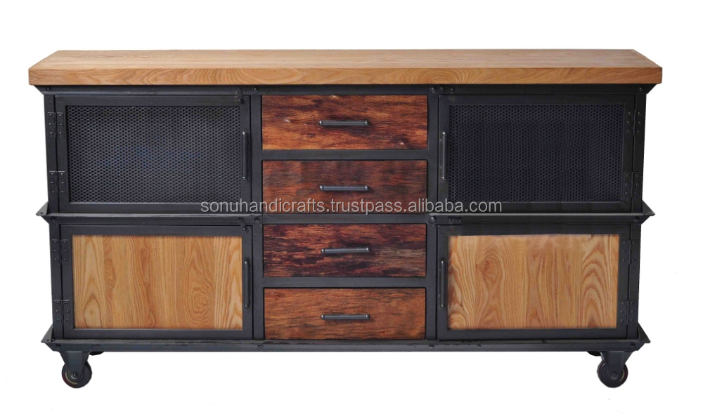 INDUSTRIAL IRON WOODEN SIDE BOARD